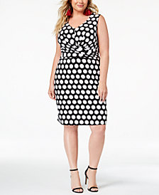 I.N.C. Plus Size Printed Faux-Wrap Sheath Dress, Created for Macy's