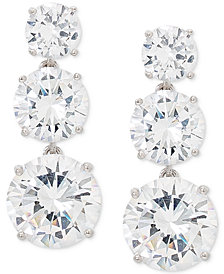Giani Bernini Cubic Zirconia Graduated Drop Earrings in Sterling Silver, Created for Macy's