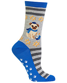 Hot Sox Hanukkah Festive Pug Non-Skid Socks
