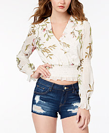 GUESS Daphne Smocked Crop Top
