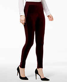 I.N.C. Mixed-Media Velvet Leggings, Created for Macy's