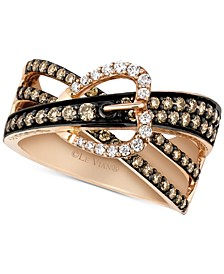 Chocolatier® Gladiator Weave™ Diamond Belt Buckle Ring (9/10 ct. t.w.) in 14k Rose Gold