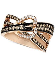 Le Vian Chocolatier® Gladiator Weave™ Diamond Belt Buckle Ring (9/10 ct. t.w.) in 14k Rose Gold