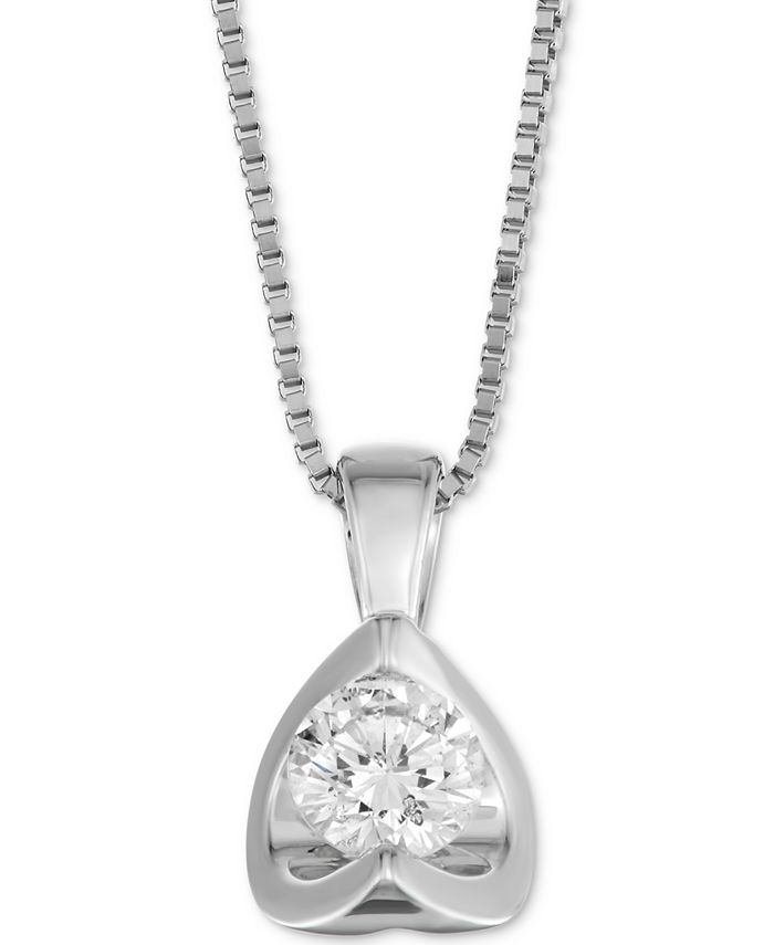 """Macy's - Diamond Tension-Set 18"""" Pendant Necklace (5/8 ct. t.w.) in 14k Gold"""