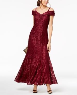 1930s Evening Dresses | Old Hollywood Silver Screen Dresses R  M Richards Off-The-Shoulder Petite Lace Gown $139.00 AT vintagedancer.com