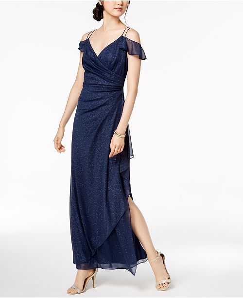 Shoulder Evenings Draped Embellished Navy Cold Dress Alex Glitter tpO6qqd
