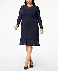 MICHAEL Michael Kors Plus Size Lace-Sleeve Knit Dress