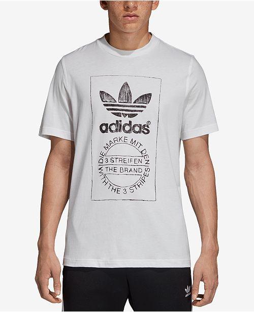 adidas Men s Originals Hand-Drawn-Look Logo T-Shirt - T-Shirts - Men ... 3d73afd5fb93e