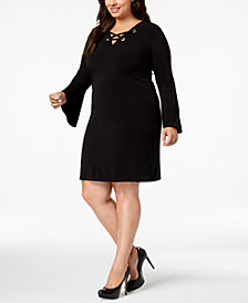 MICHAEL Michael Kors Plus Size Lace-Up Shift Dress