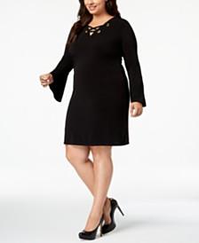 MICHAEL Michael Kors Plus Size Lace-Up Shift Dress