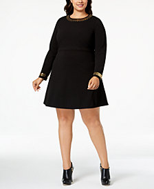 MICHAEL Michael Kors Plus Size Embellished Fit & Flare Dress