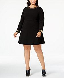MICHAEL Michael Kors Plus Size Embellished Fit & Flare Dress