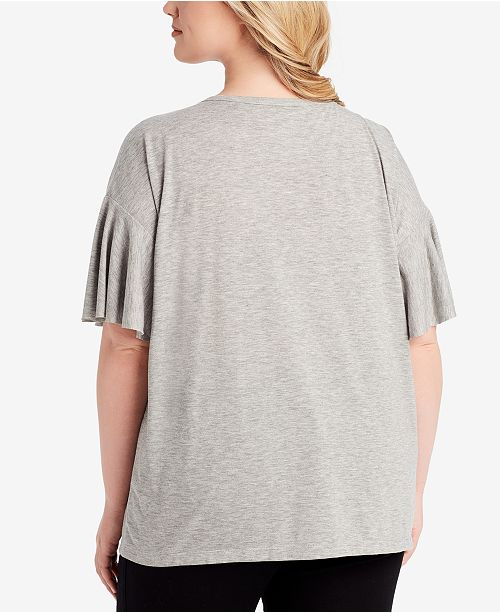 Simpson Trendy Jessica Graphic Top Size Grey Light Embellished Heather Plus qf7xd75