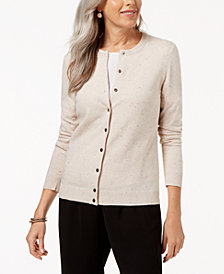 Karen Scott Flecked Cardigan Sweater