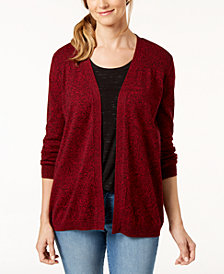 Karen Scott Cotton Marled Cardigan Sweater, Created for Macy's
