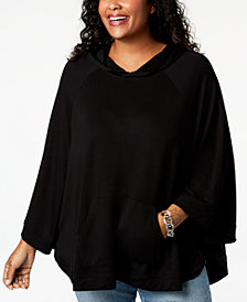 Joseph A Plus Size Hooded Poncho