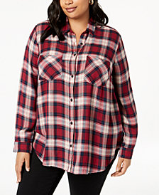 Lucky Brand Trendy Plus Size Plaid Boyfriend Shirt