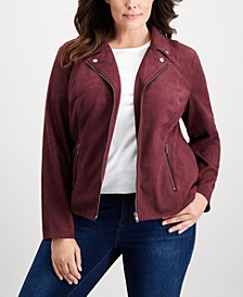 Plus Size Faux-Suede Jacket, Created for Macy's