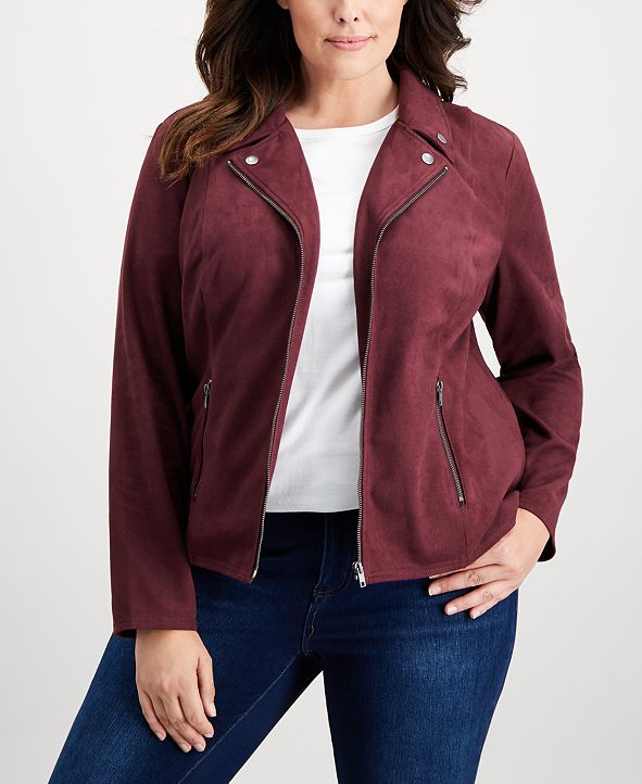 Style & Co Plus Size Faux-Suede Jacket, Created for Macy's