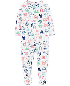 Carter's Baby Girls Dog-Print Footed Pajamas