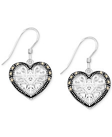 Marcasite & Crystal Openwork Heart Drop Earrings in Fine Silver-Plate