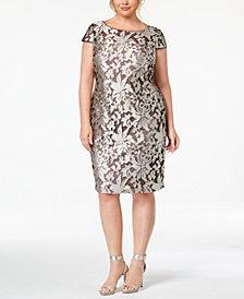 Calvin Klein Plus Size Damask Embroidered Dress