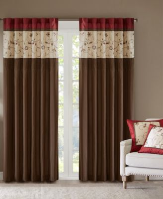 "Serene 50"" x 84"" Colorblocked Embroidered Rod Pocket/Back Tab Curtain Panel"
