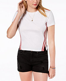 Almost Famous Juniors' Side-Striped Mesh-Back Top