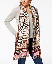 I.N.C. Varsity Stripe Animal-Print Wrap, Created for Macy's
