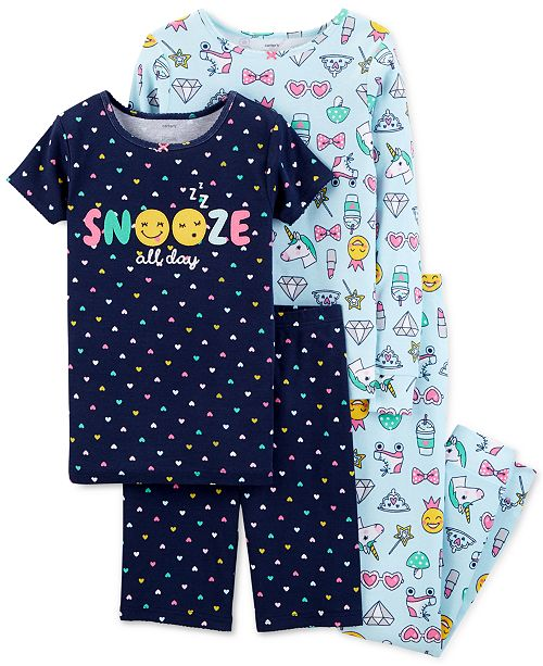 1ab3c1121 Carter s Little   Big Girls 4-Pc. Emoji Snug Fit Cotton PJs Set ...