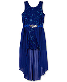 BCX Big Girls Plus Sequin Lace Maxi-Overlay Romper