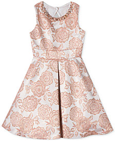 Rare Editions Big Girls Metallic Brocade Dress