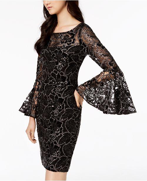 a6b44fd1 Calvin Klein Sequin Bell-Sleeve Dress & Reviews - Dresses - Women ...