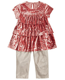 First Impressions Baby Girls 2-Pc. Crushed-Velvet Tunic & Leggings Set, Created for Macy's