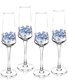 Blue Italian Champagne Flutes, Set of 4