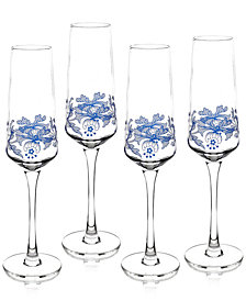 Spode Blue Italian Champagne Flutes, Set of 4