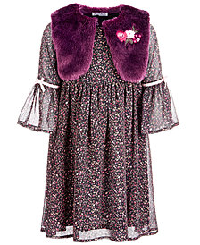 Blueberi Boulevard Little Girls 2-Pc. Dress & Faux-Fur Shrug Set