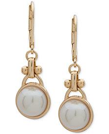 Anne Klein Gold-Tone Imitation Pearl Drop Earrings