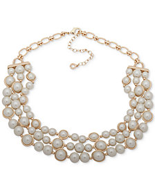 "Anne Klein Gold-Tone Imitation Pearl Triple-Row Collar Necklace, 16"" + 3"" extender"