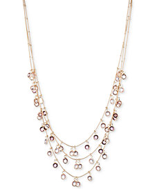 "Anne Klein Gold-Tone Stone Triple-Row Shaky Necklace, 17"" + 3"" extender"