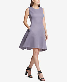 DKNY Mesh Seamed Fit & Flare Dress, Created for Macy's