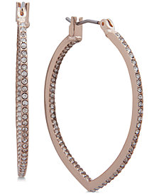 "Anne Klein Pavé Pointed 1 1/4"" Hoop Earrings"