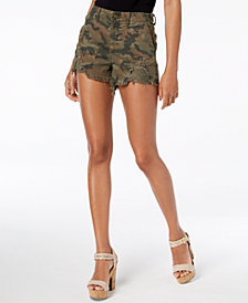 GUESS Ripped Camouflage-Print Shorts