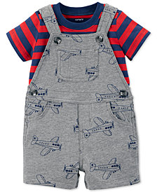 Carter's Baby Boys 2-Pc. Cotton Striped T-Shirt & Printed Short Overall Set