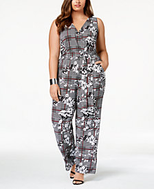 NY Collection Plus & Petite Plus Size Printed Surplice Jumpsuit