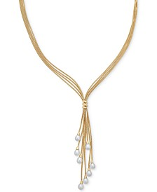 "Cultured Freshwater Pearl (6-1/2 mm) Multi-Strand 18"" Lariat Necklace in 14k Gold-Plated Sterling Silver"