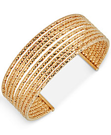 Multi-Row Cuff Bracelet in 14k Gold-Plated Sterling Silver