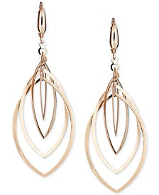 Multi-Layer Marquise Drop Earrings in 14k Gold