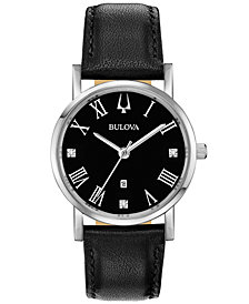 Bulova Women's American Clipper Diamond-Accent Black Leather Strap Watch 32mm