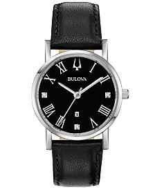 Bulova Women's American Clipper Diamond-Accent Black Leather Strap Watch 32mm